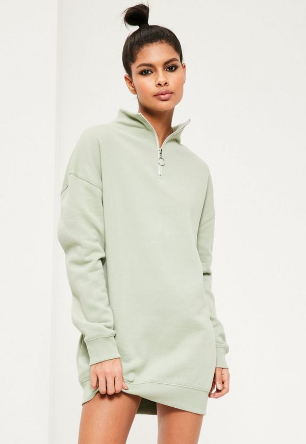 green zip neck sweater dress