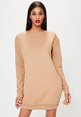 Nude Raw Edge Oversized Jumper Dress