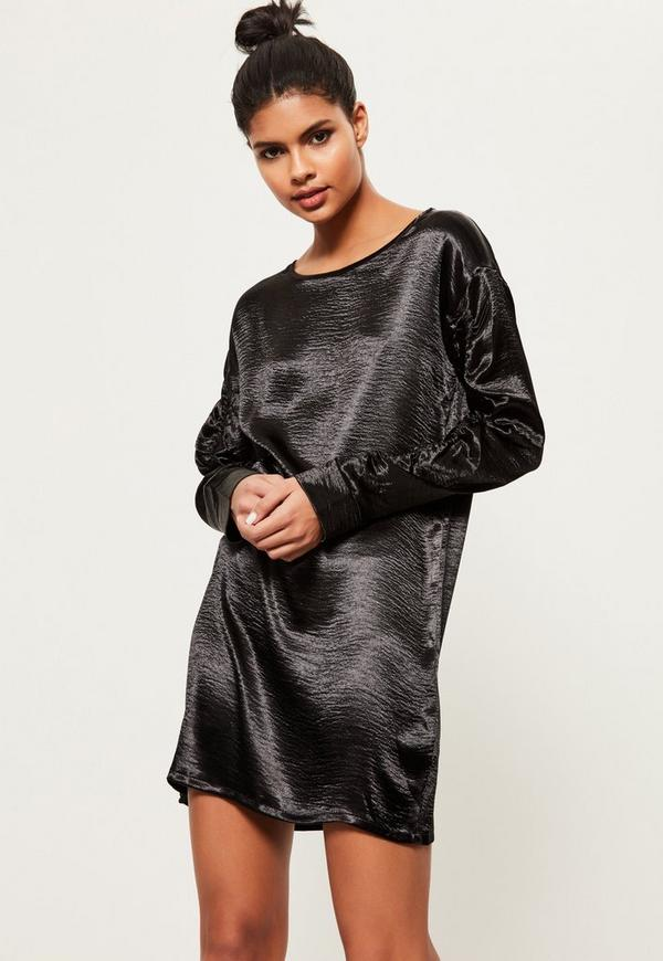 Black Oversized Gather Sleeve Satin Dress