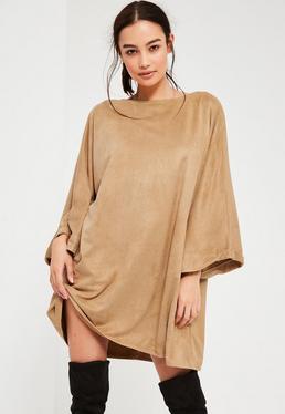 Robe oversize en suédine nude