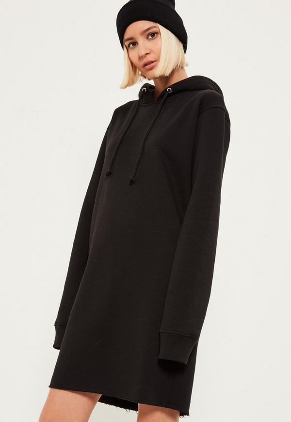 Black Distressed Hem Hooded Sweater Dress