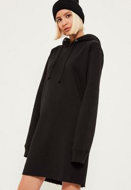 Czarna sukienka bluza z kapturem i uciętym dołem