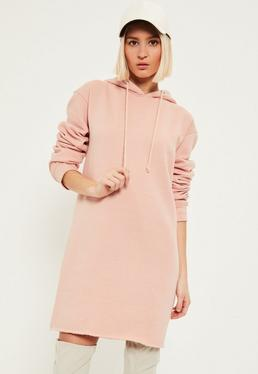 Pink Distressed Hem Hooded Jumper Dress