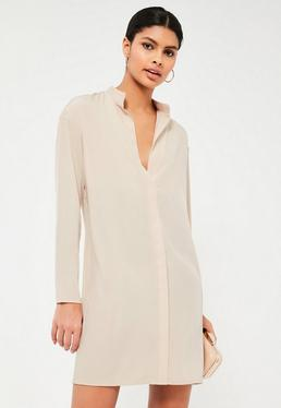 Nude Concealed Placket Oversized Dress