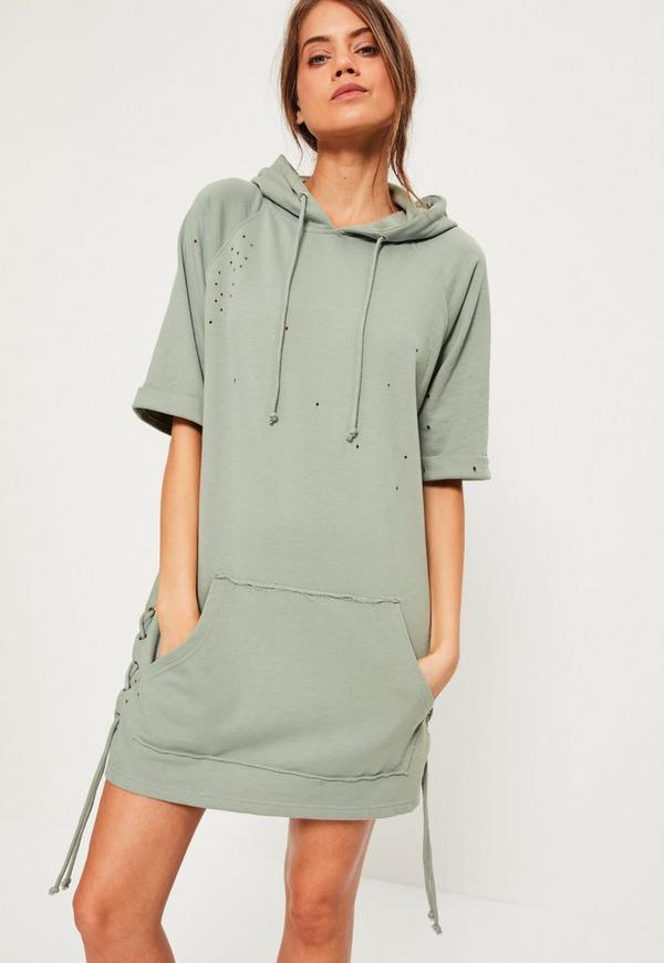 green hooded distressed hem sweater dress