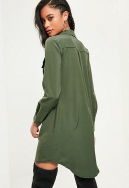 Khaki Utility Pocket Lace Up Dress