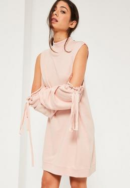 Pink Cold shoulder gather sleeve Sweater dress