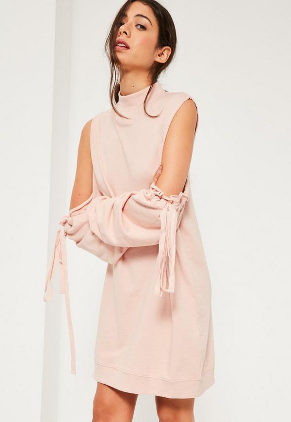 Pink Cold shoulder gather sleeve Sweater dress