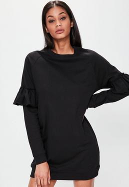 Czarna sukienka bluza z ozdobnymi falbankami