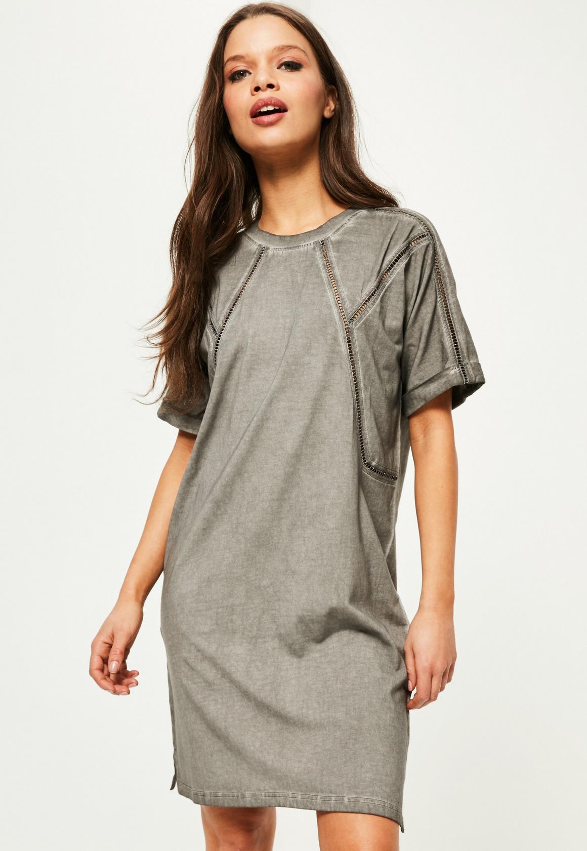 Grey Wash Ladder Detail Shift Dress | Missguided