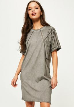Grey Wash Ladder Detail Shift Dress
