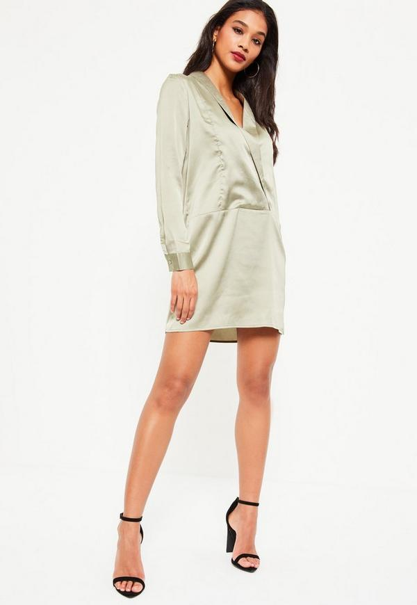 Green V Neck Satin Collar Shift Dress