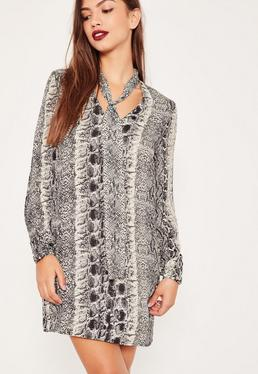 Snake Print Tie Neck Shift Dress