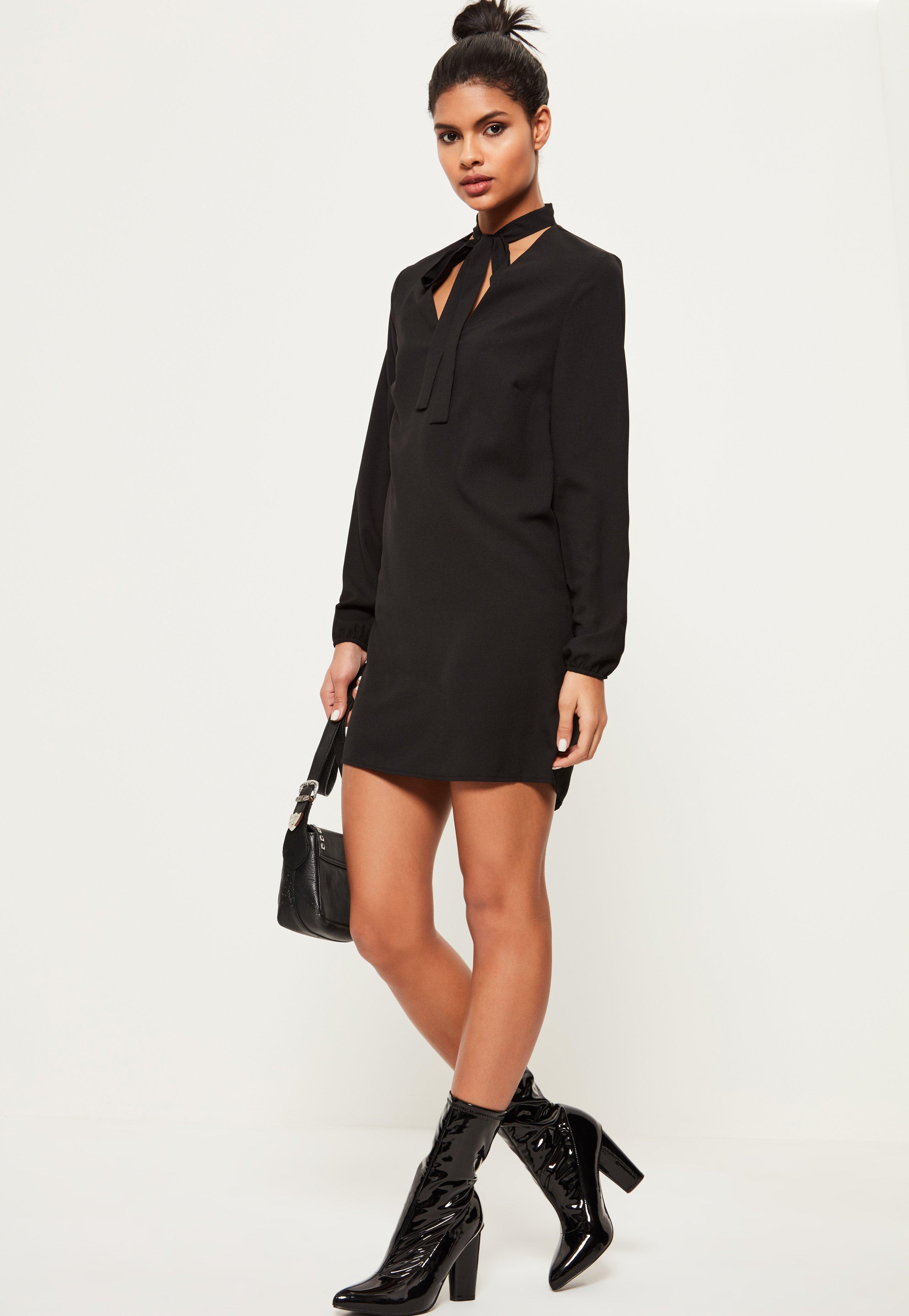 Black Tie Neck Plain Shift Dress