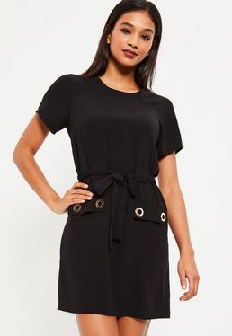 Black Eyelet Detail Tie Shift Dress