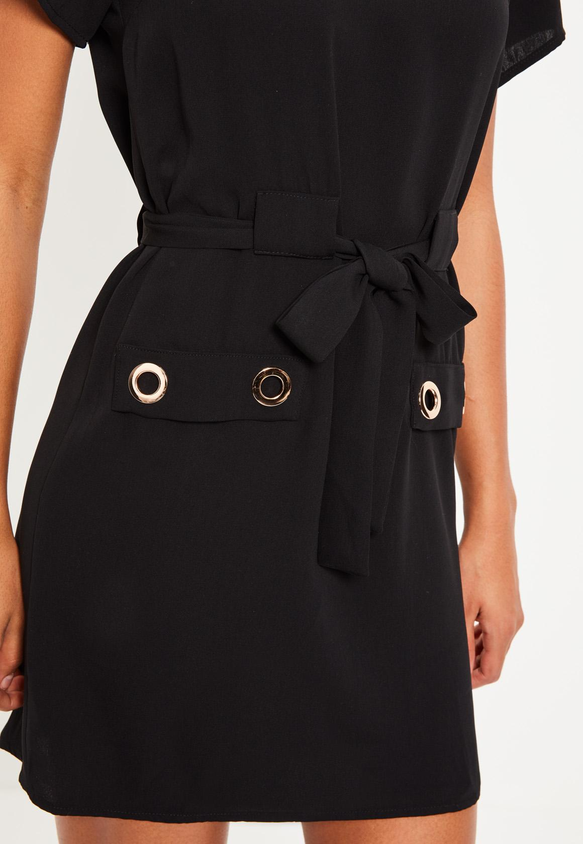 Black Eyelet Detail Tie Shift Dress