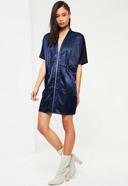 Navy Zip Down Satin Shift Dress