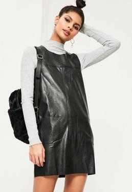 Black Pinafore Faux Leather Shift Dress
