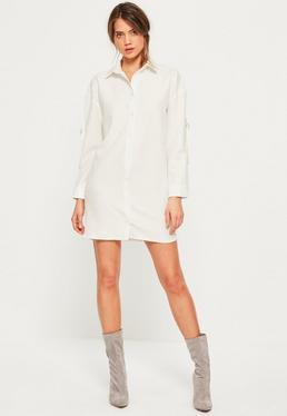 White d ring sleeve shirt dress