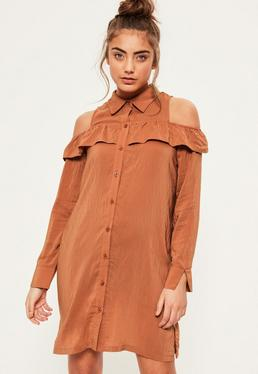 Brown Ruffle Cold Shoulder Shirt Dress