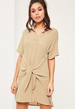 Beżowa sukienka koszula wiązana w pasie