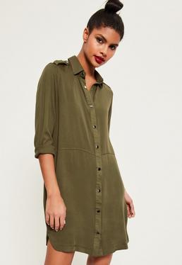 Khaki Military Style Shirt Dress