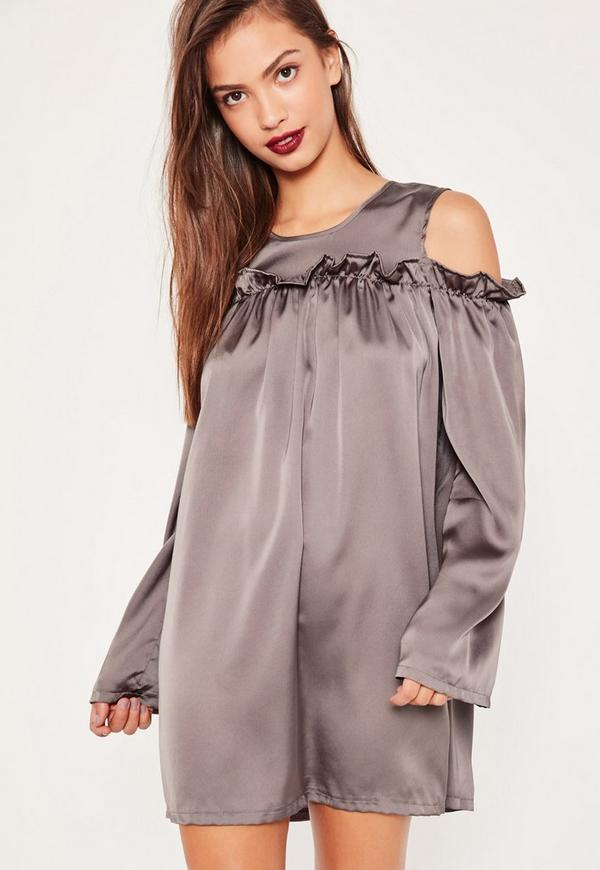 Grey Frill Cold Shoulder Swing Dress