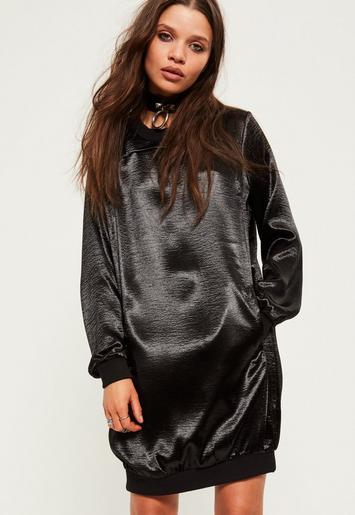 Black Satin Sweater Dress Missgudied