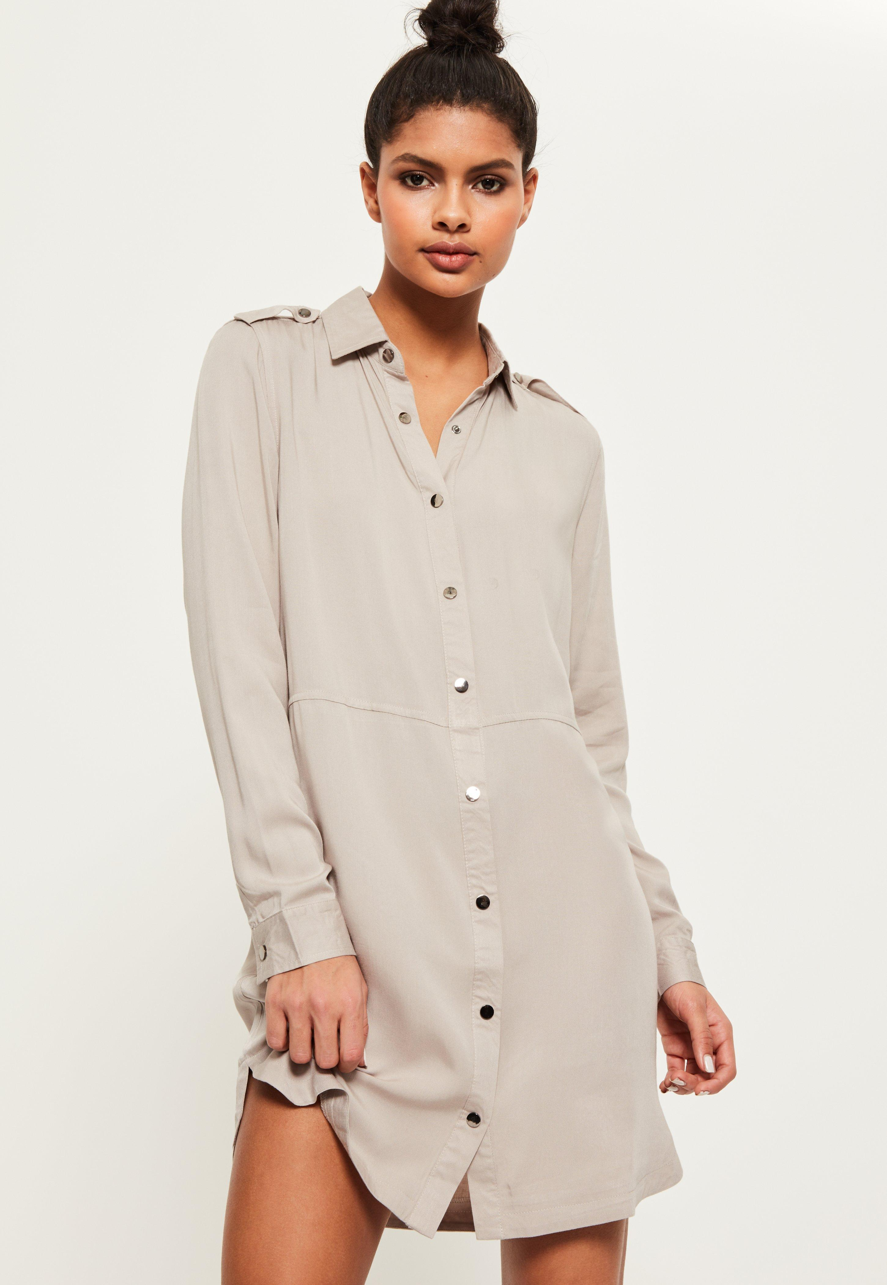 Grey Military Style Shirt Dress