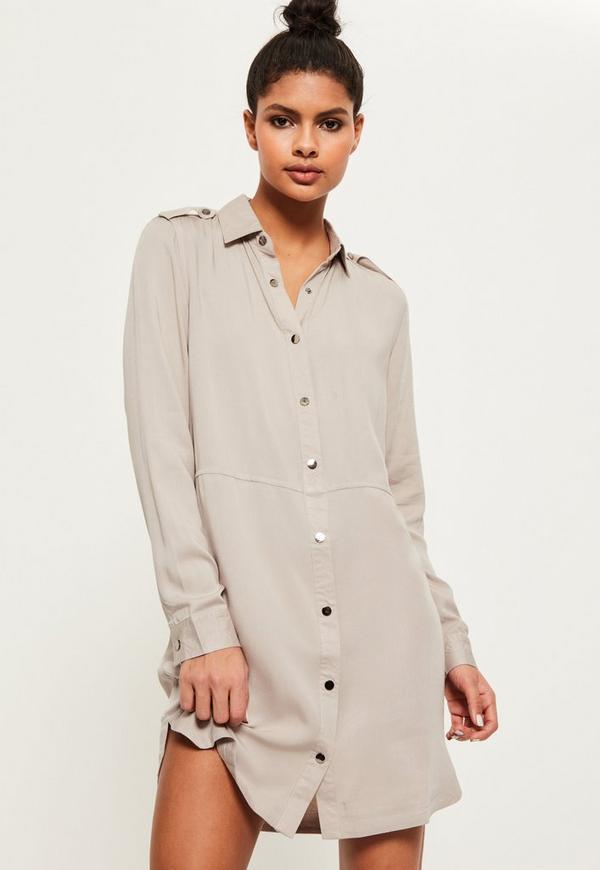 Grey Military Style Shirt Dress