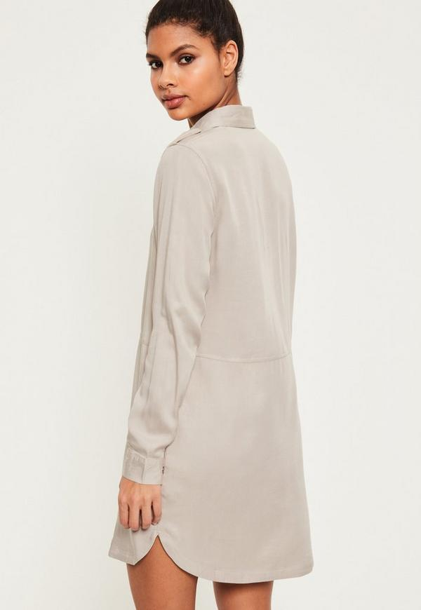 Grey Military Style Shirt Dress Missguided