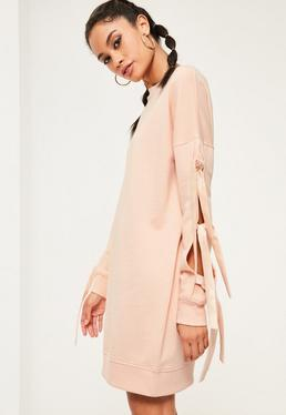 Robe sweat nude manches nouées