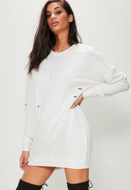 Biała poszarpana sukienka bluza oversized
