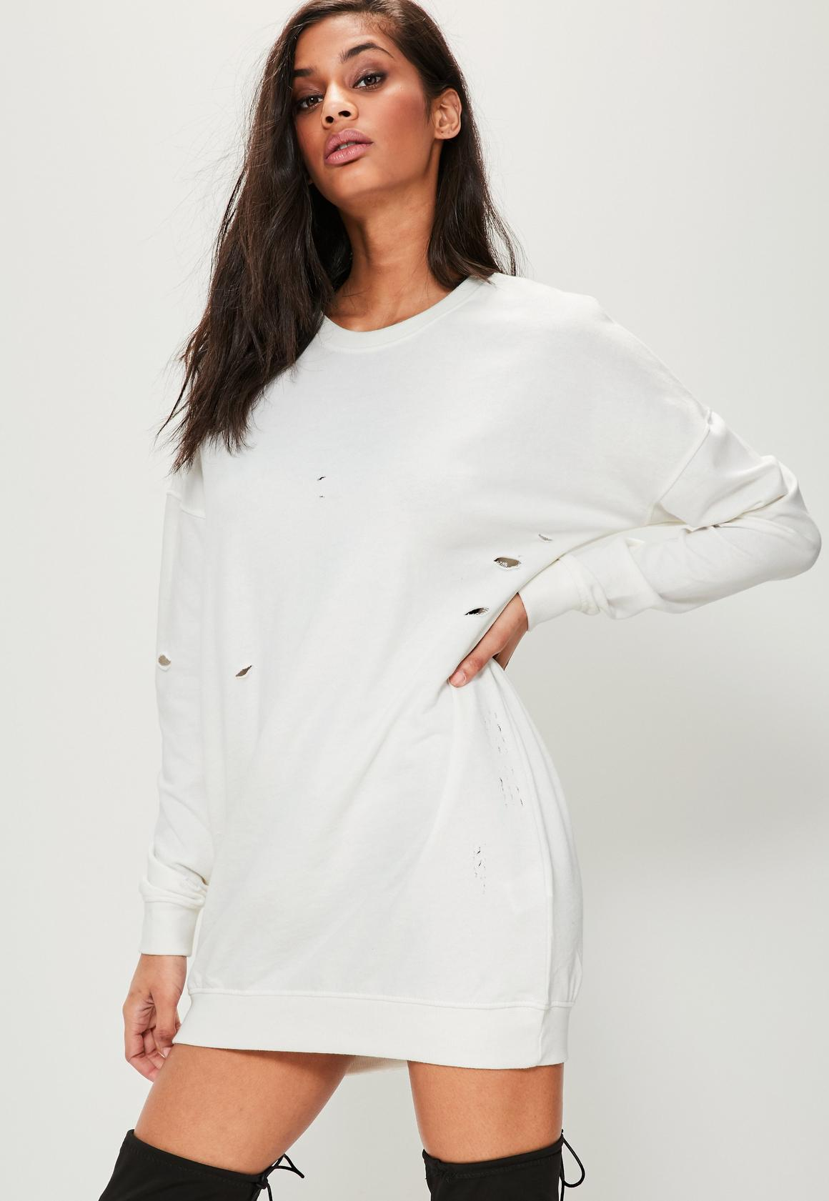 White Ripped Oversized Sweater Dress | Missguided Ireland