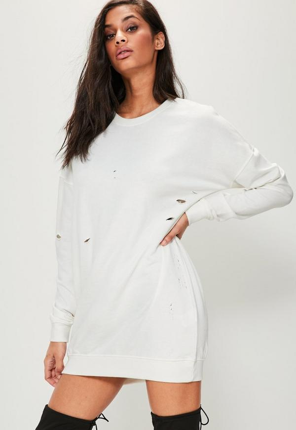 White Ripped Oversized Sweater Dress