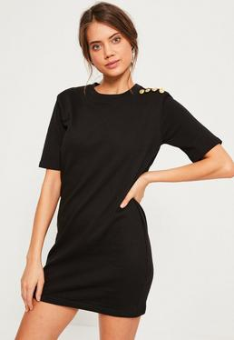 Military button shift dress black