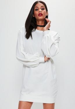 White Balloon Sleeve Jumper Dress