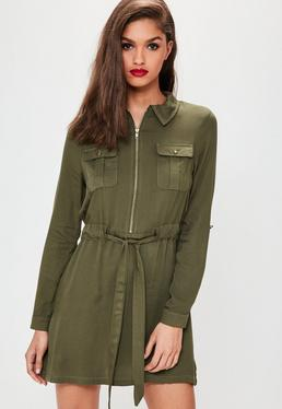 Khaki Tie Waist Military shirt dress
