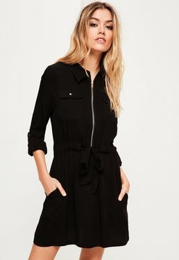 Black Military Tie Waist Shirt Dress