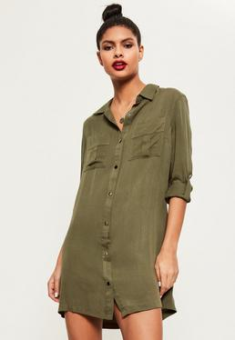 Khaki Buckle Sleeve Military Shirt Dress
