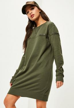 Khaki Button Across Jumper Dress