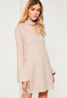Nude Buckle Choker Neck Faux Suede Dress