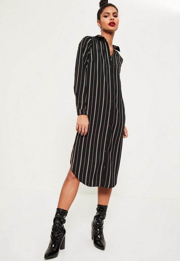 Black Base Midi Shirt Dress