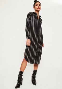 Robe-chemise mi-longue noire rayée
