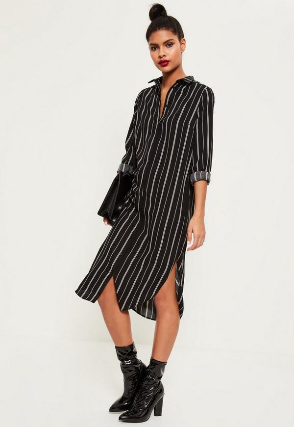 black base midi shirt dress missguided