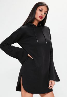 black flared sleeve hooded sweater dress