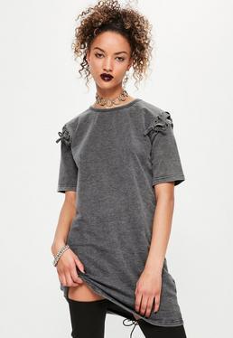 Grey eyelet lace up sleeve wash t-shirt dress