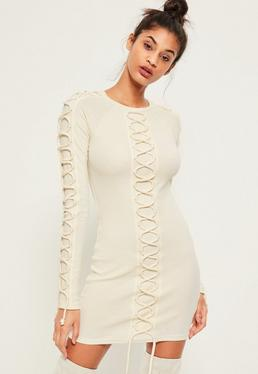 Cream Lace Up Detail Ribbed Bodycon Dress