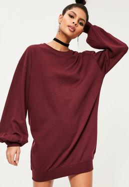 Burgundy Balloon Sleeve Jumper Dress