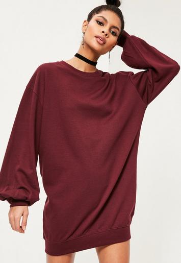 Burgundy Balloon Sleeve Sweater Dress Missguided